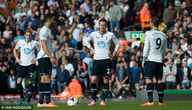 Beaten: Tottenham's last Premier League match was a 4-0 defeat against Liverpool