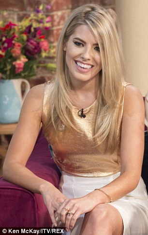 Glitzy: Mollie, 26, wowed in a gold sleeveless top and white pencil skirt like Frankie