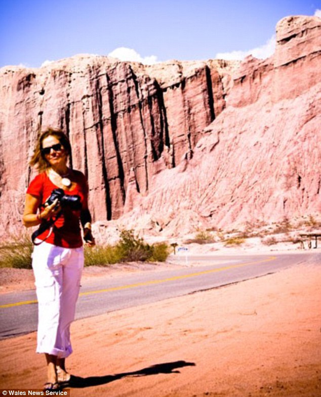 Tracy Johnson pictured here at the Basalt Cliffs in Patagonia