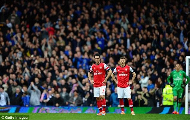 Dejected: Arsenal's Mikel Arteta (left), Thomas Vermaelen (centre) and Wojciech Szczesny (right) look glum after conceding a third goal