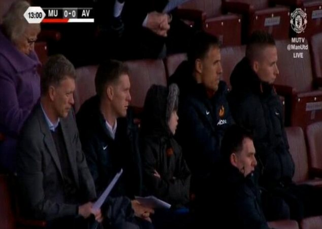 Watching brief: Manager David Moyes was at Old Trafford to watch the U21 match