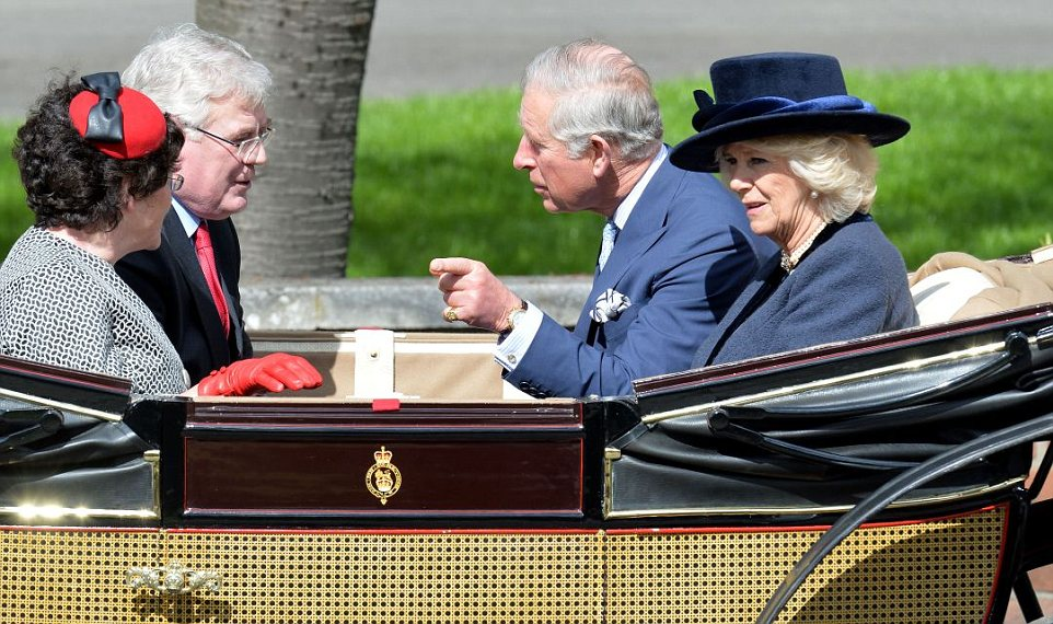 Heir to the throne: Prince Charles and Camilla were also swept up to Windsor in a coach with two Irish dignataries