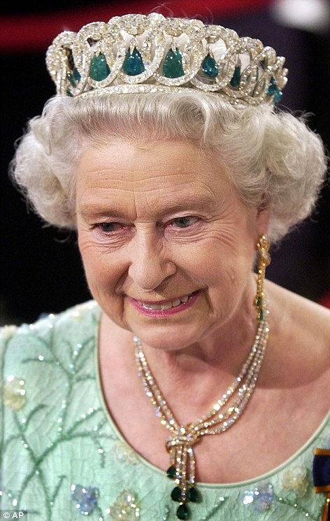 The Queen, pictured wearing the Grand Duchess Vladimir of Russia¿s tiara in 2002, chose the stunning piece in honour of her Irish guest President Michael D Higgins