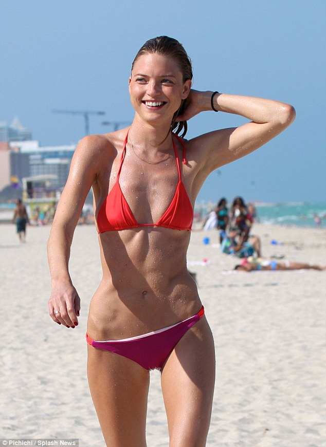 Skinny Minnie! Victoria's Secret Angel Martha Hunt was spotted flaunting her super-slim bikini body on the beach near The James Royal Palm in Miami Sunday