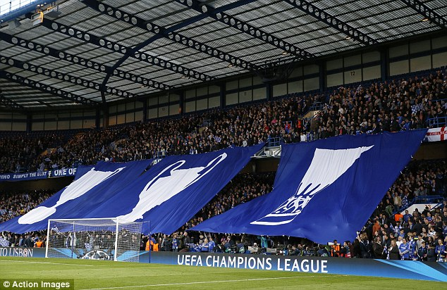 Elite group: Chelsea fans unfurled flags celebrating their Cup Winners' Cup, Europa League and European Cup victories