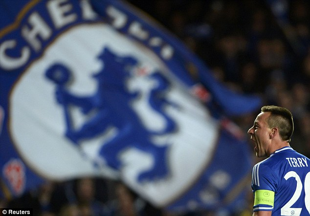 That's the spirit: Chelsea skipper John Terry roars at the final whistle as Chelsea sealed their place in the final four