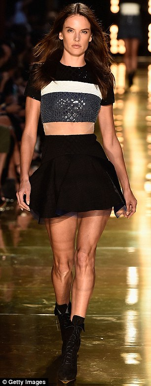 Healthier figure: Brazilian stunner Alessandra Ambrosio headlined Alex Perry's Autumn/Winter showcase and flaunted a much healthier, athletically slim figure