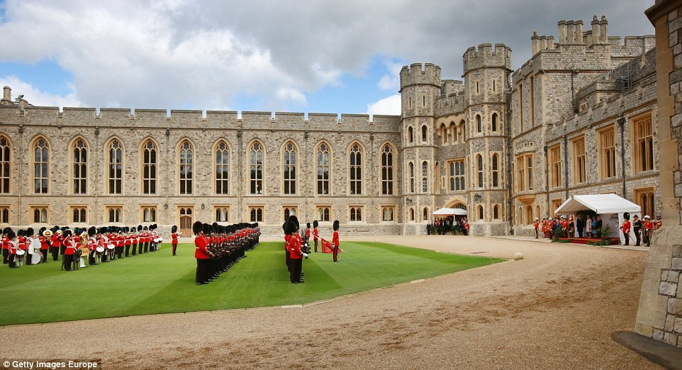 Grandeur: The Royal and Irish parties enjoyed music from the brass band in the castle's quadrangle
