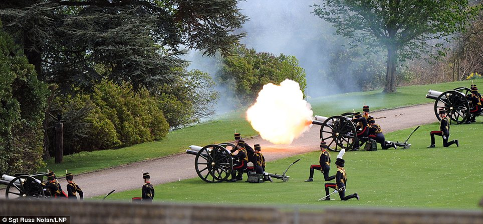 Cannons: A salute was fired to welcome Mr Higgins to Windsor on his historic visit to Britain