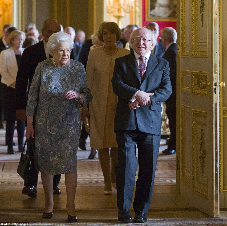Entrance: The Queen showed Mr Higgins around Windsor Castle during the president's ground-breaking tour of Britain