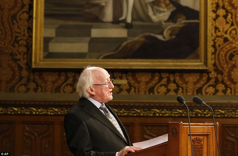 Ground-breaking: Irish President Michael Higgins gives a speech at the Houses of Parliament, as part of his state visit to the UK - the first by an Irish head of state since Ireland threw off British rule and its monarchy a century ago