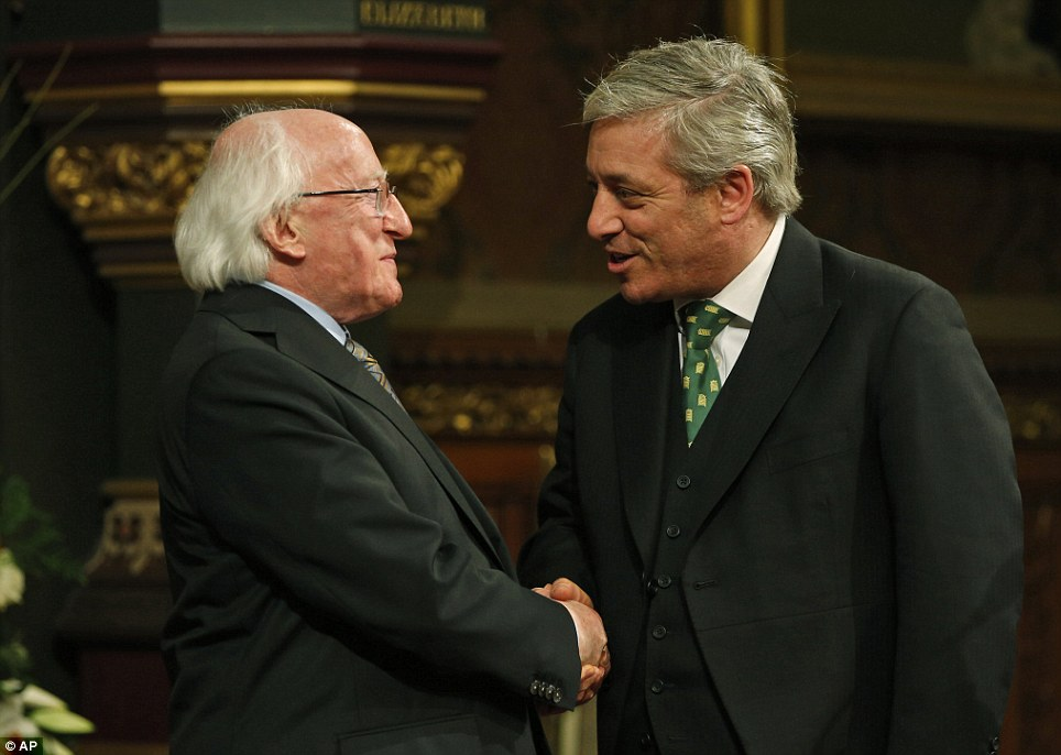 Welcome: President Higgins (left) is welcomed to the Houses of Commons by Speaker of the House John Bercow (right)