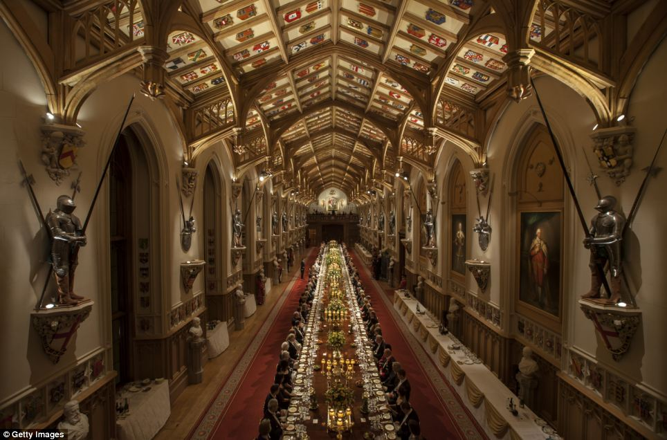 Opulent: The decadent dinner took place in Windsor Castle's magnificent Saint George's Hall