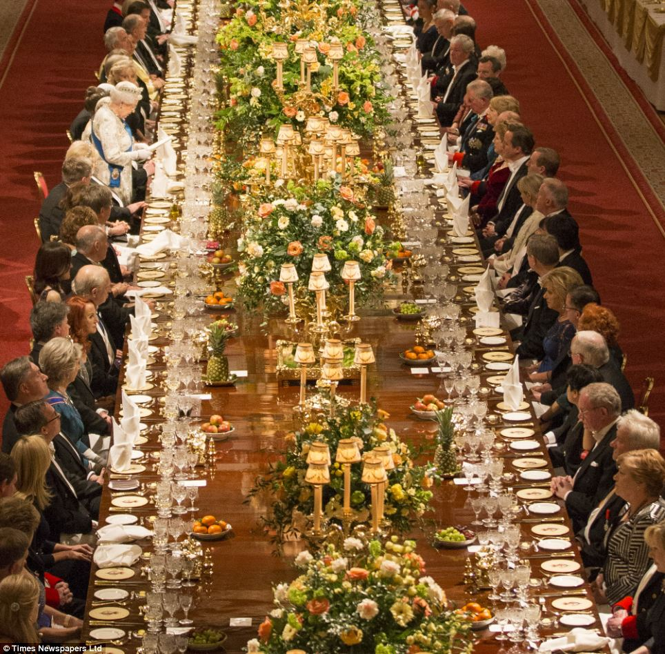 Grand: Politicians and celebrities joined members of the Royal family, dining on a sumptuous menu of fillet of halibut, followed by Windsor estate beef and Vanilla ice-cream bombe with a Balmoral redcurrant centre