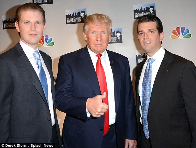 Me and my boys: Donald Trump with his sons Eric and Donald Jr.