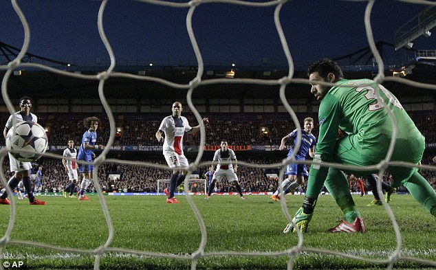 Helpless: PSG goalkeeper Salvatore Sirigu can only watch as Andre Shurrle's strike finds its way into the net