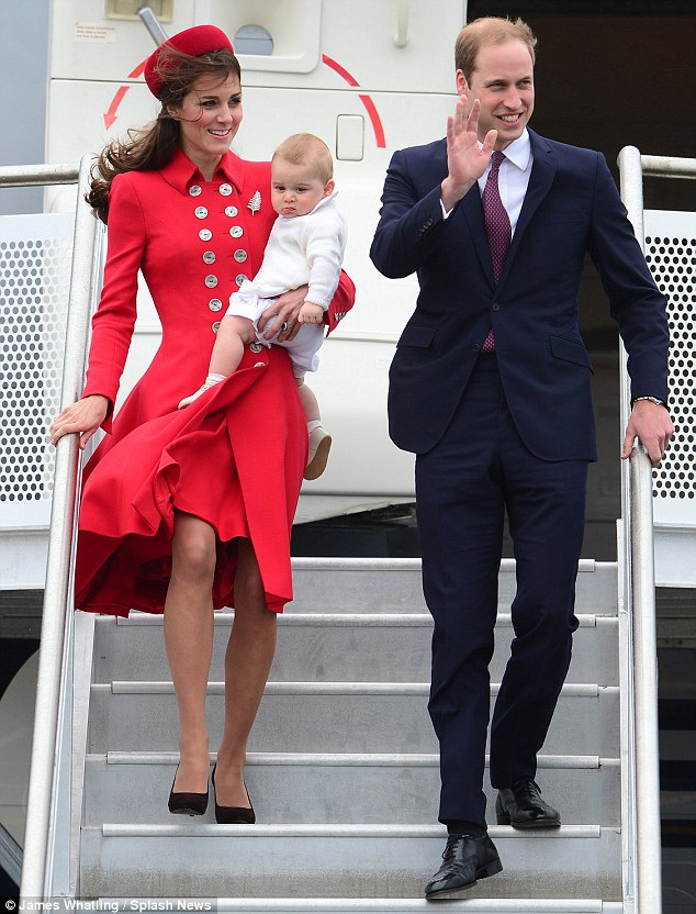 'Lovely': Anne said she thought Kate - pictured with William and Prince George in New Zealand on Monday - is 'lovely,' adding, 'She makes me very happy and that royal wedding just could not be beat'