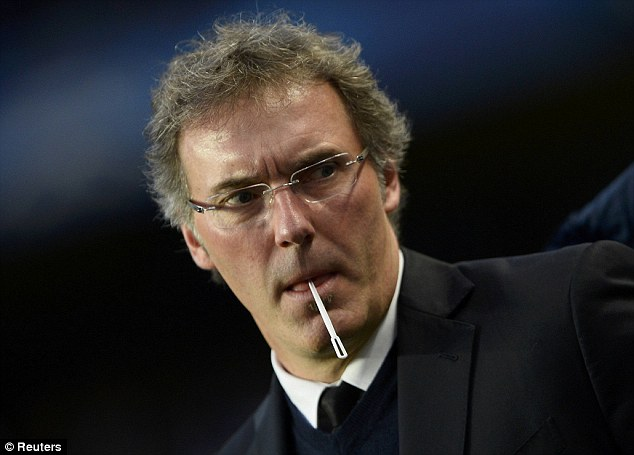 In control: Paris Saint-Germain manager Laurent Blanc looks relaxed on the touchline ahead of kick-off