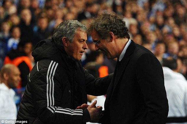 Respect: Blanc shares a joke with Chelsea boss Jose Mourinho at Stamford Bridge