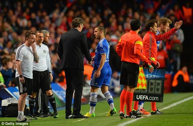 Wanted man: Blanc shakes hands with reported PSG transfer target Eden Hazard as he leaves the field injured