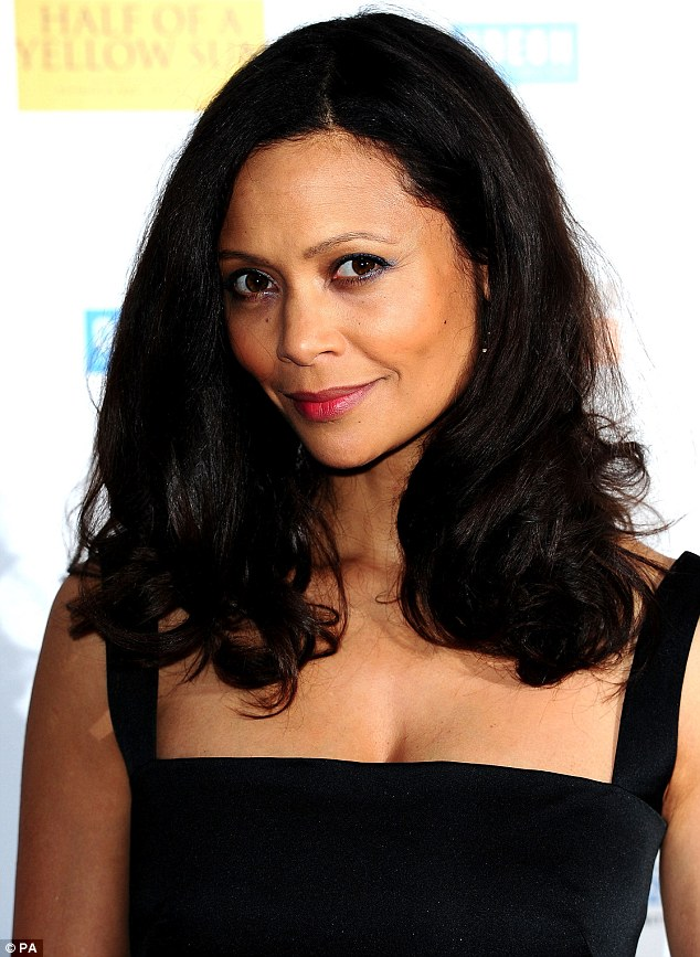 Strike a pose: Thandie opted for minimal make-up and wearing her raven locks blow-dried into a voluminous style.