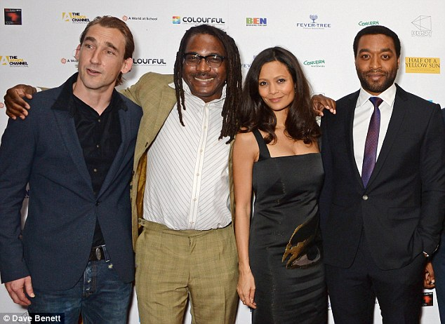 Big night:  Joseph Mawle, director Biyi Bandele, Thandie and Chiwetel seemed in good spirits as they posed on the red carpet