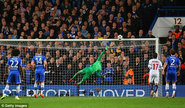 So close: Oscar (not pictured) clattered the bar with a free-kick as the Brazilian put in another 90-minute shift for Chelsea