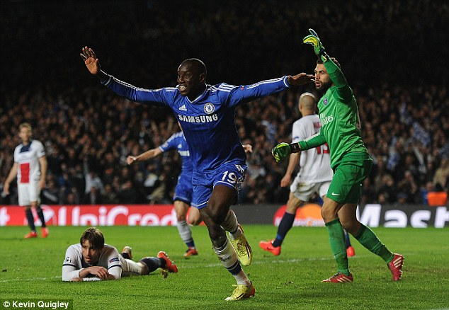 Winner: Demba Ba celebrates after scoring the goal that sent Chelsea into the semi-finals