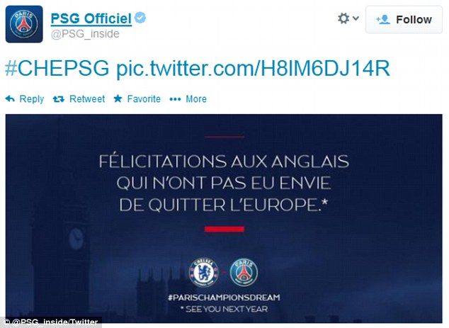 Message: PSG tweeted this at Chelsea after being knocked out of the Champions League by Jose Mourinho's side