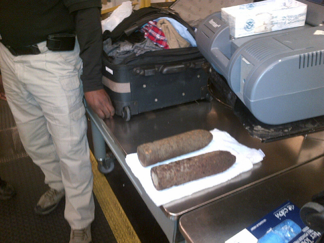 Baggage claim: Two World War I artillery shells discovered by baggage screeners in checked luggage that arrived on a flight from Heathrow at Chicago's O'Hare International Airport