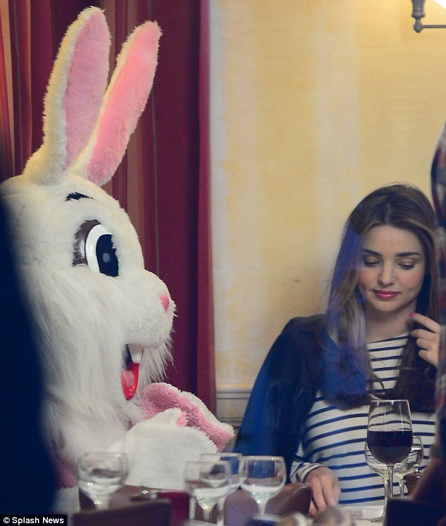 A romantic setting: Miranda Kerr spotted shooting a commercial with a bunny in New York on Tuesday