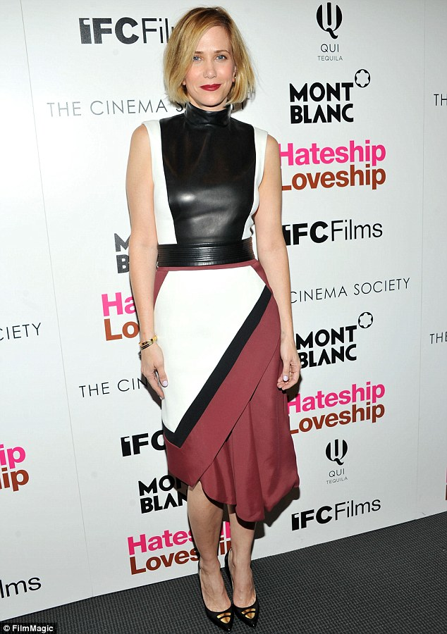 Bold: Kristen Wiig swathed her willowy figure in a multi-coloured geometric dress at the showing of Hateship Loveship at the Cinema Society in New York on Tuesday