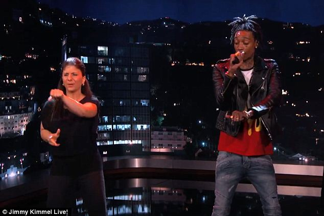 Amazing: Three professional concert sign language interpreters went head to head as Jimmy Kimmel Live! hosted a sign language rap battle Monday night