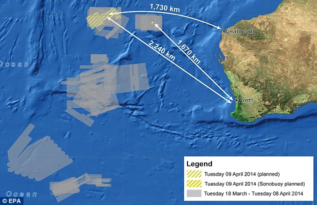 More signals: A handout image released by the Australian Maritime Safety Authority (AMSA) shows the search area in the Indian Ocean, West of Australia, where  15 planes and 14 ships are scouring a 75,423 square km area of ocean for the wreckage of flight MH370 more than a month after it disappeared