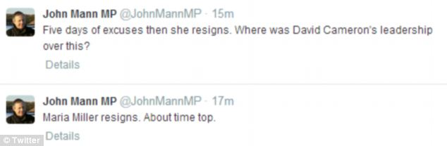 Labour MP John Mann, who made the original complaint against Mrs Miller over her expenses, said her resignation was 'about time too'