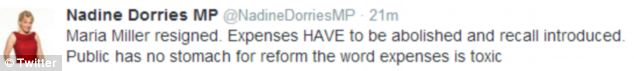 Tory MP Nadine Dorries called for the entire expenses system to be abolished