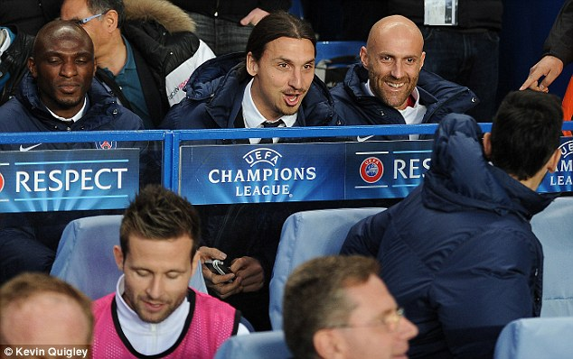 Sidelined: Ibrahimovic missed the Champions League quarter-final at Stamford Bridge through injury