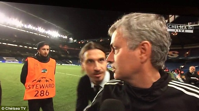 Over the shoulder: Zlatan digs his former boss and mentor in the ribs