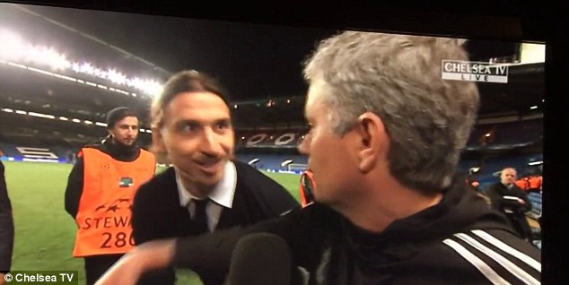 Look who it is! Zlatan's face is a picture as Mourinho turns around to greet him