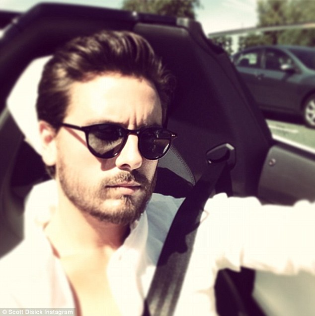 Sportscar selfie: Scott posted a picture of himself in the sports car to his Instagram account