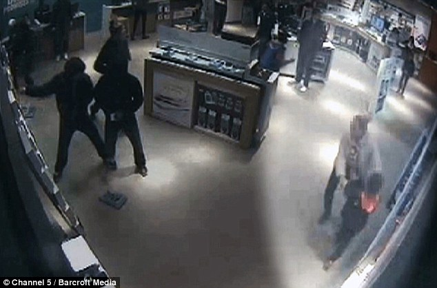 CCTV footage of a 'steaming' gang attacking a mobile phone store in London. They are one of a number of teenage criminals featured on a new Channel 5 TV documentary