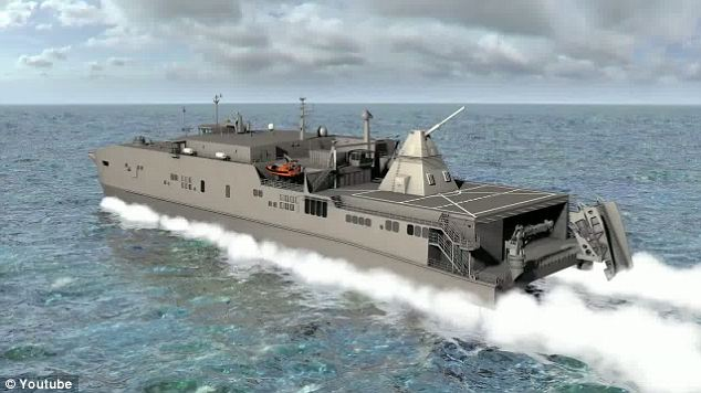 Ready for testing: The first sea trials of the new railguns will take place in fiscal year 2016 aboard a cargo ship specially adapted for the purpose, like this artist's impression
