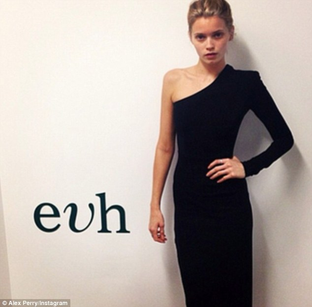 Alex Perry shared a picture of ultra-thin model Abbey Lee Kershaw just hours after apologising for featuring another skinny model at his Mercedes Benz Fashion Week show