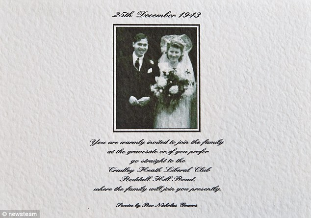 Wedding invite: When the pair tied the knot, the church couldn't ring the bells because they were used to alert residents to a Nazi bombing raid. But the wedding bells were rung in a final tribute as the couple's hearses arrived at the church for their funeral