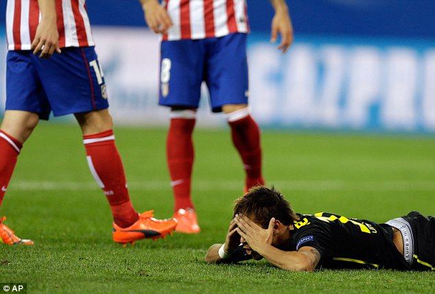 Despair: Barcelona ace Neymar has head in his hands