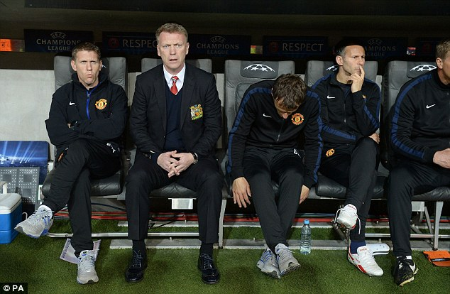 Early doors: Moyes watches as his side settle into the match in the early stages