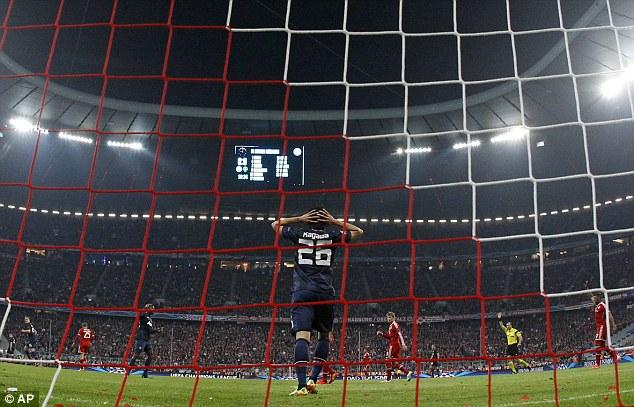 No deal: Shinji Kagawa laments after Antonio Valencia's goal is chalked off