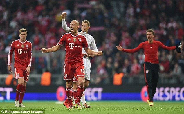 Party time: Bayern Munich's stars roar after the final whistle brings the game to an end