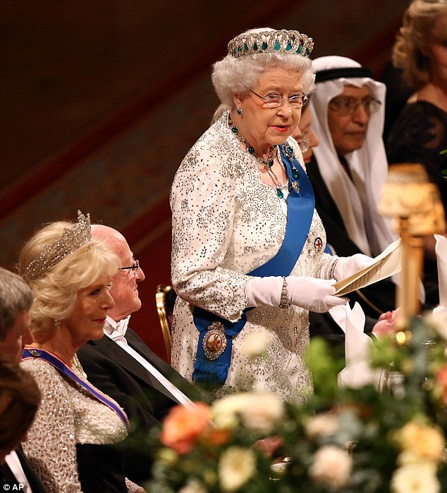 The Queen gave a speech during last night's banquet that was attended by a number of royals and dignitaries