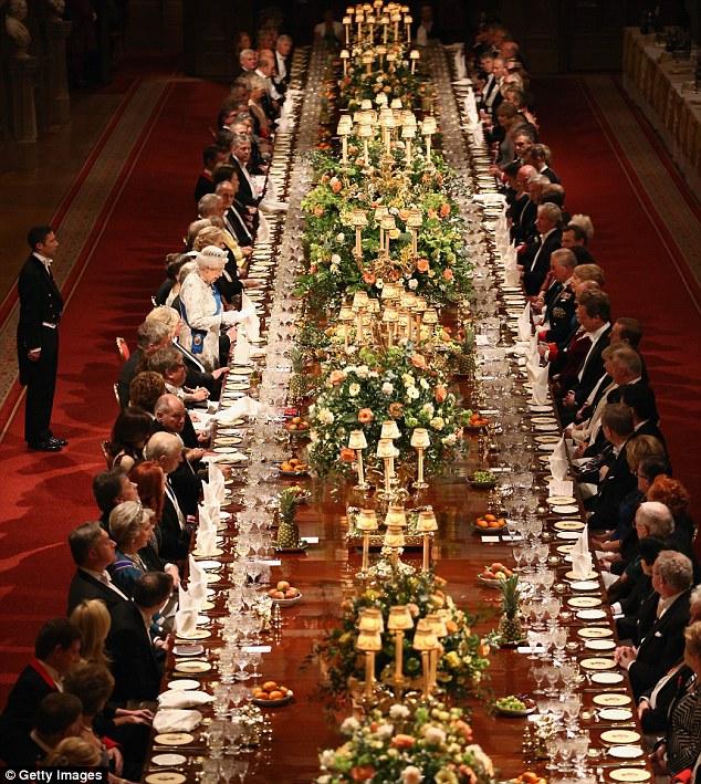 The state banquet was a lavish affair